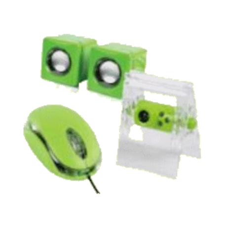 basicXL Back2School-KIT SET: USB-webcam, speakers en optische muis (Groen)