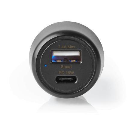 Nedis CCPD18W100BK Autolader (3.0A, 18W vermogen, USB-A en USB-C aansluitingen, Zwart)