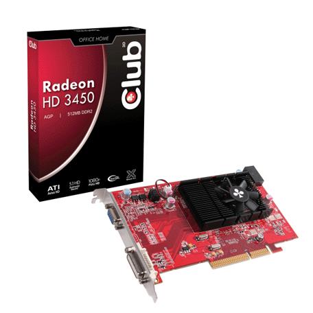 Club3D CGA-3452 Radeon HD3450 AGP-videokaart (512MB, VGA+DL DVI-I)