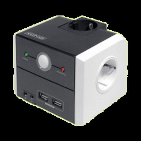 König CMP-POWG10 Desktop verdeelblok 3x Schuko + 2x USB/Audio/Reset