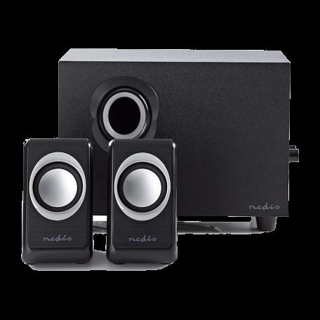 Nedis CSPR10021BK Stereo 2.1 Speakersysteem met subwoofer (33W RMS, Zwart)