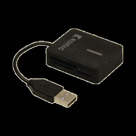 König CSU2TCR100BL Alles-in-één cardreader USB 2.0 reisuitvoering