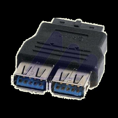 OEM USB3-HDR 20-pins moederbord-header naar 2x USB3.0 type-A
