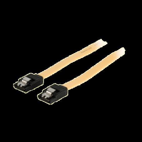 Valueline VLCP73250Y10 SATA 6Gbit/s kabel met clip (1.0m, 7-pins Female - Female, Geel)