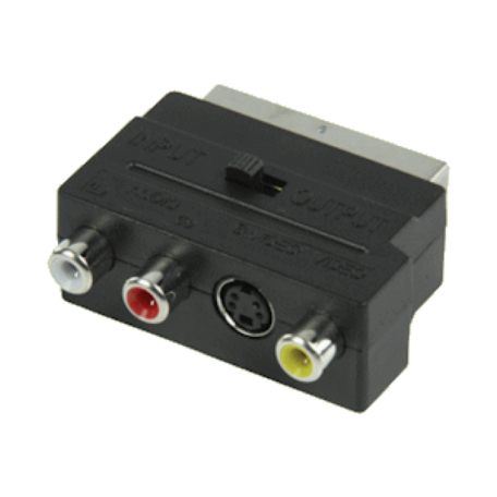 Valueline VLVP31902B Scart-Adapter -> 3x RCA & Svideo + in/uit