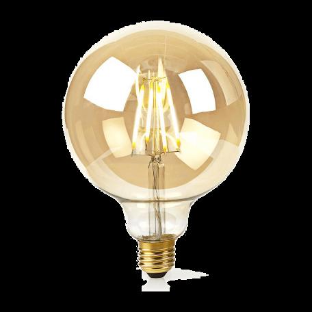 Nedis WIFILF10GDG125 Slimme Wi-Fi Filament LED-Lamp goud glas (5W, Warm-Wit Dimbaar, E27/125mm Bol)